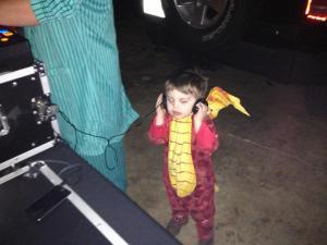 One of my side kicks, my son Tripp, helping daddy DJ a halloween party